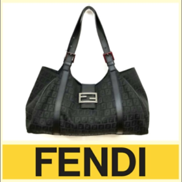 859d204589 Fendi Handbags - Fendi Black Canvas Zucca Shoulder Bag